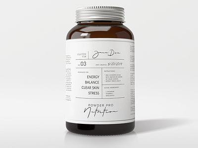 Powder Pro Nutrition logo graphic design photoshop label design branding packaging design