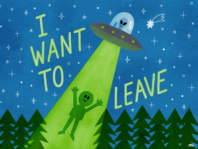 I WANT TO LEAVE vintage alien covid19 illustration ufo