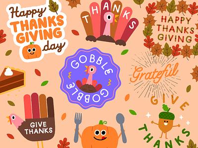 Thanksgiving Collection gratitude fall autumn pumpkin pie vintage fun character illustration thanks turkey acorn pumpkin thanksgiving day halloween thanksgiving