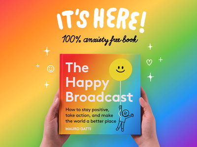 The Happy Broadcast Book fun ui branding logo book cover design happiness book character illustration