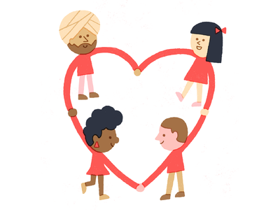 Love knows no color universal love vintage character illustration
