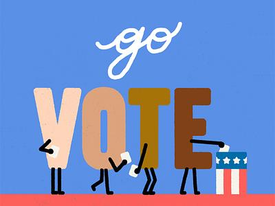 Go Vote! usa vote2020 vote character illustration