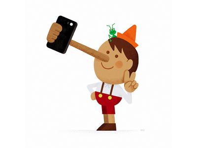 Pinocchio Selfie selfie pinocchio tale cricket jiminy iphone phone fun illustration