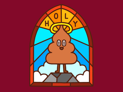 Holy S**t religion glass poop fun vintage character illustration
