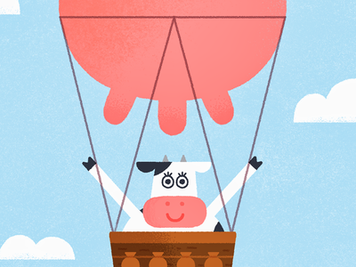 A free cow is a happy cow fun udder balloon sky farm pink character vintage animal illustration cow