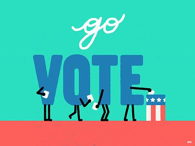 GO VOTE! clinton trump vota go vote vote election illustration