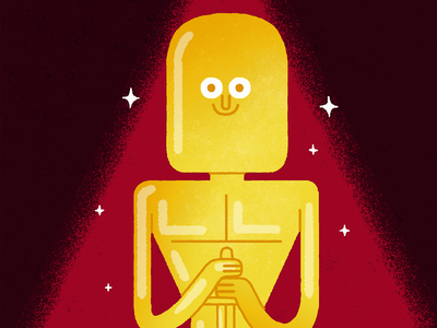 And the Oscar goes to ... the wrong film drawing texture vintage event gold fun illustration statue oscars