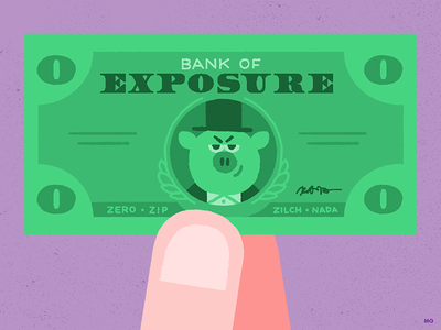 Exposure Kills invoice bill dollar pay freelance green business pig money exposure
