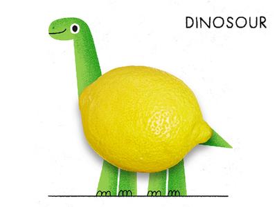 Dinosour typography pun design character animal cute photo illustration lemon sour dinosaur