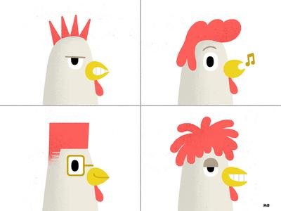 Chicken Hairstyle rock punk rasta 80s character texture vintage illustration fun hairstyle emoji chicken