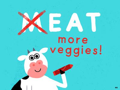 Eat More Veggies meat vegetarian graffiti animal art draw vegan animal illustration veggies cow