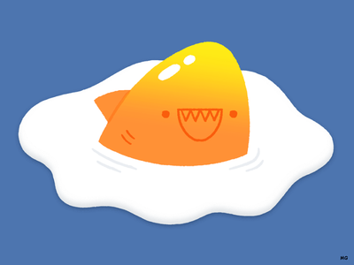 Breakfast is the most dangerous meal of the day logo shark character happy food smile animal vintage fun illustration