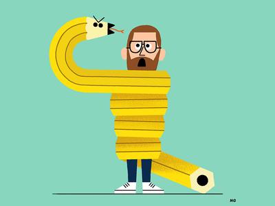 Deadlines brush vintage horror joke fun selfie self portrait pencil art illustration snake