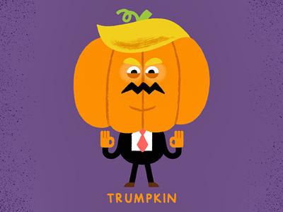 Trumpkin pumpkin usa potus politics costume halloween trump vintage fun character illustration
