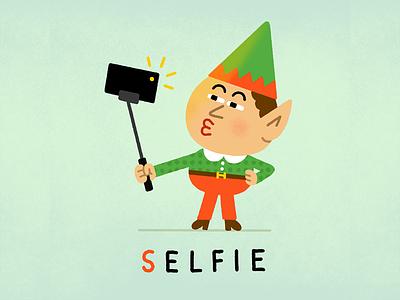 S Elfie elves duck face typography photo holiday character kiss christmas elf selfie