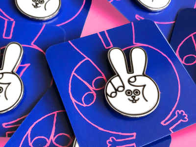 The Peace Bunny Pin hand peace animal product character fashion merchandise pin bunny