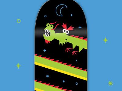 Bonobolabo Skateboard vintage minimal illustration product character chinese dragon skateboard skate