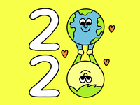 2020, The Year of the Planet activism earth climate change vintage fun character illustration