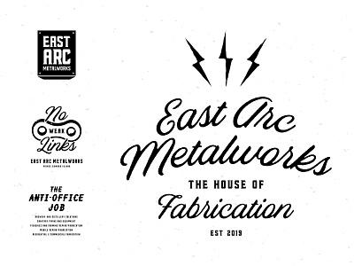East Arc Metalworks Tees lettering vector fabrication welder logo branding shirt tee metal welding