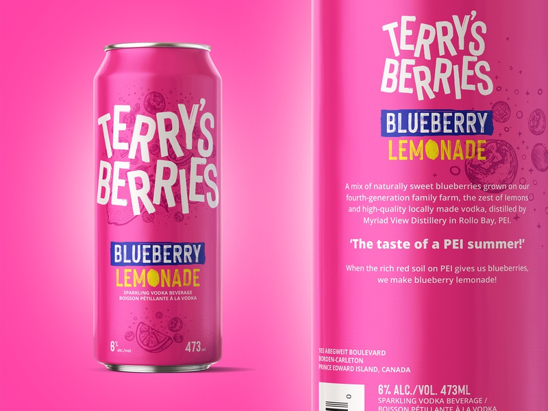 Terry's Berries Blueberry Lemonade Vodka pink blueberry lemonade vodka brand lettering design toronto illustration typography branding logo