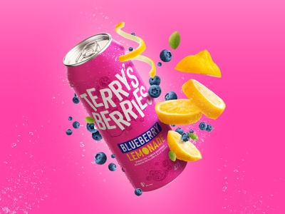 Terry's Berries Flavour Profile lettering toronto logo branding typography illustration product design lemonade lemon blueberry alchohol drink can