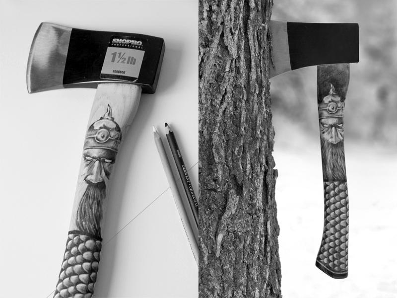 Custom Hatchet hatchet axe throwing axe toronto charcoal drawing illustration viking wood handle