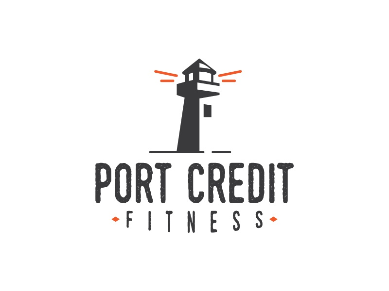 Port Credit Fitness typography ontario lighthouse gym fitness branding logo