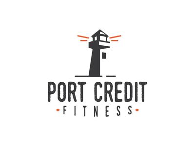 Port Credit Fitness typography ontario lighthouse gym fitness branding logo
