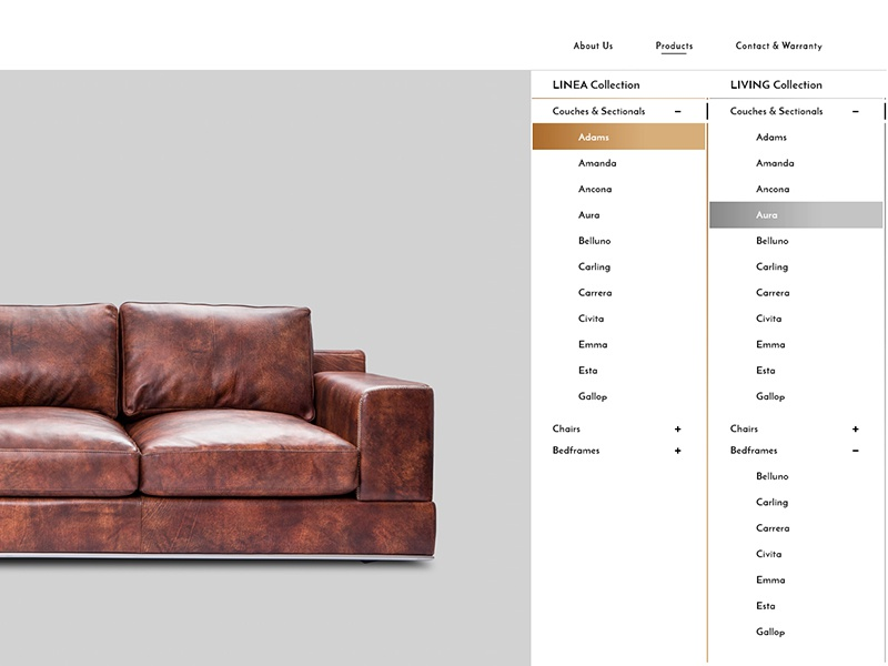 Product Menu - Furniture Website minimal ux ui product furniture concept website web design