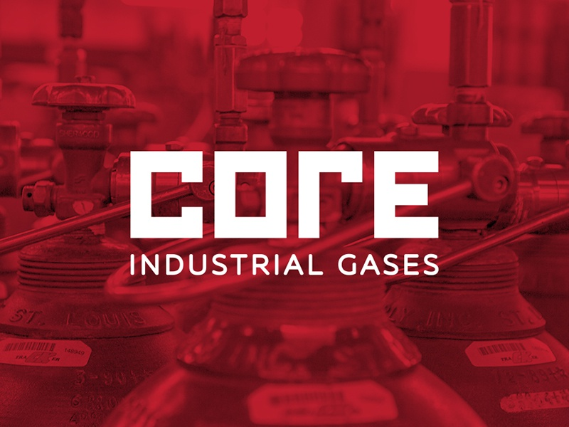 CORE Industrial Gases factory toronto wordmark commercial industrial red branding logo gas