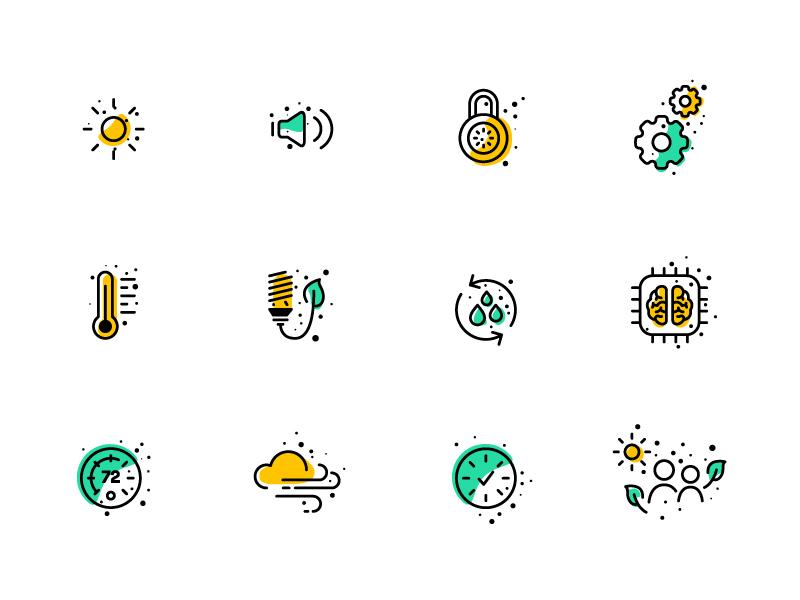 Sustainability Icons eco environment illustration icon set yellow green linework lineart icons icon