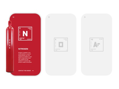 CORE Tank Product Cards periodic table web typography app design web design red industrial gas card