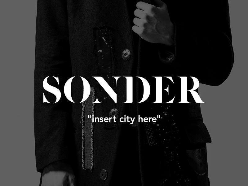 "Sonder ""insert city here"" stylist toronto wordmark black and white travel blog fashion branding logo"