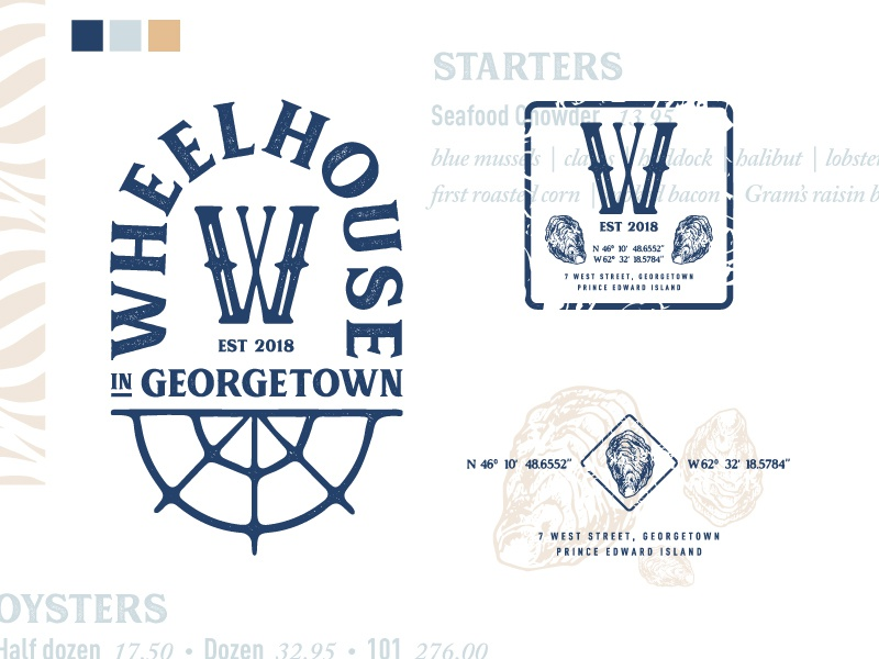 Wheelhouse Branding rustic ocean blue oysters pei canada restaurant logo branding nautical ship wheel