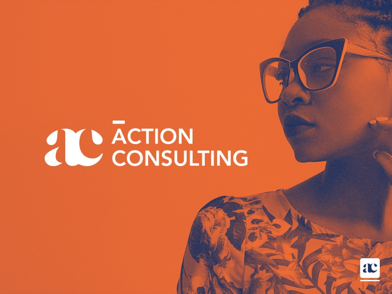 Action Consulting Branding icon typography orange blue corporate consulting branding logo