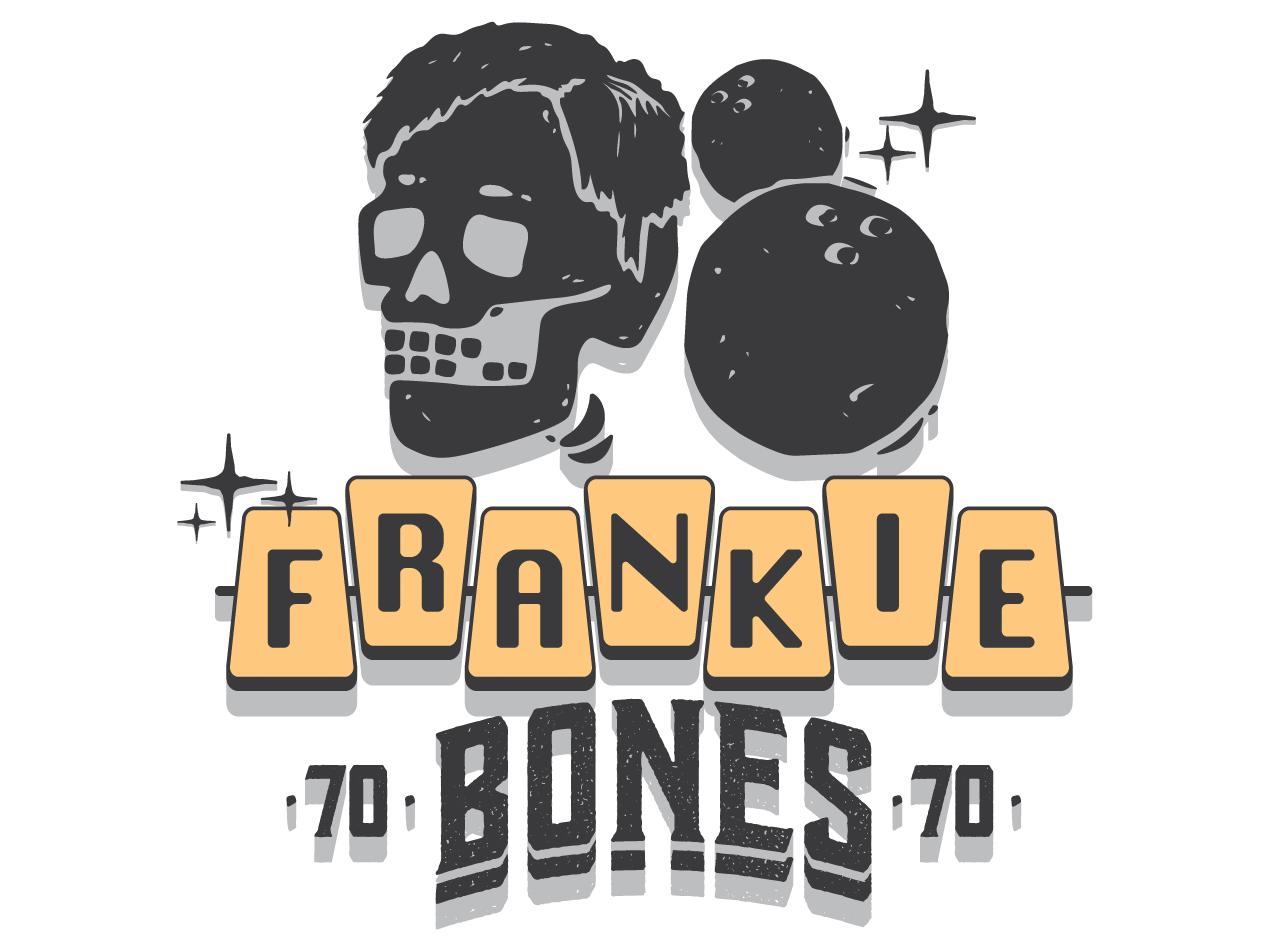 Frankie Bones retro yellow illustration typography 70s skull hair skull bowling tshirt
