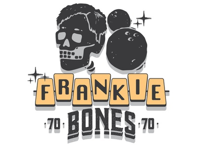 Frankie Bones retro yellow illustration typography 70s skull hair skull bowling tshirt