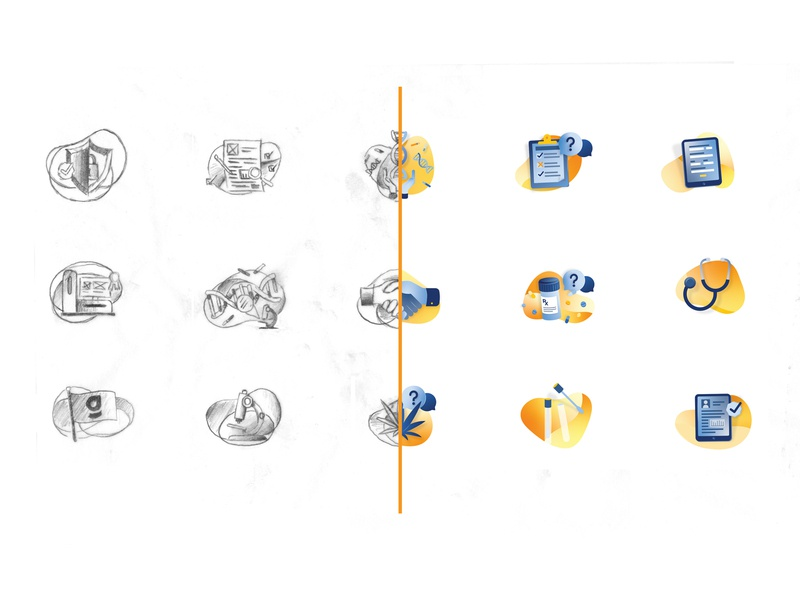 Web Illustrations icons sketch medical dna illustrations website