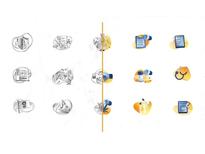 Web Illustrations icons sketch medical dna illustrations website