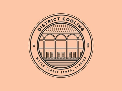 District Cooling Badge illustration vintage lineart linework florida badge crest