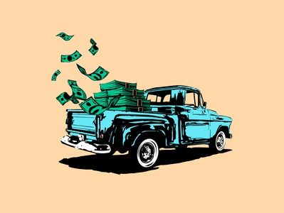 Pay Y'all! campaign currency money truck drawing design vector illustration