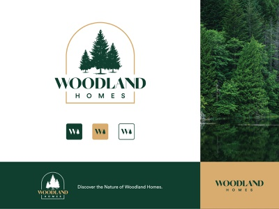 Woodland Homes brand design typogaphy icon forest greenhouse construction green logo branding trees