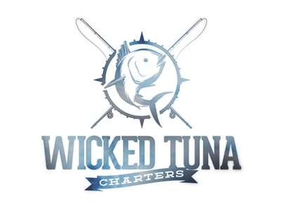 Wicked Tuna Charters logo branding ocean typography lettering fish nautical fishing boat