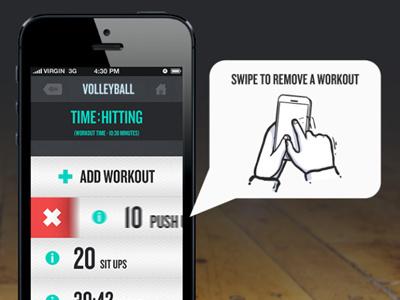 Edit Workout - Swipe app iphone app design