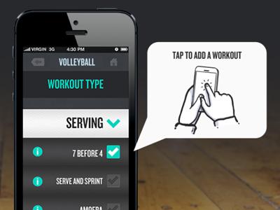 Workout Selection app design iphone app