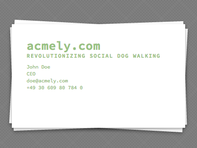 CSS Business Card css monospaced