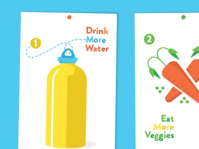 Simple Resolutions new year resolutions water bottle veggies carrots peas goals