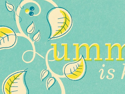 a bit of summer summer leaves vintage illustration finally yellow teal