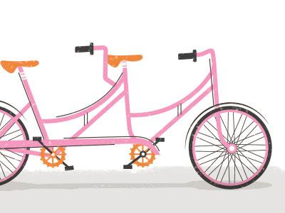 random tandem - wip pink bike illustration lines