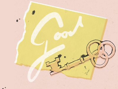 Good good lettering pink yellow key illustration kessy